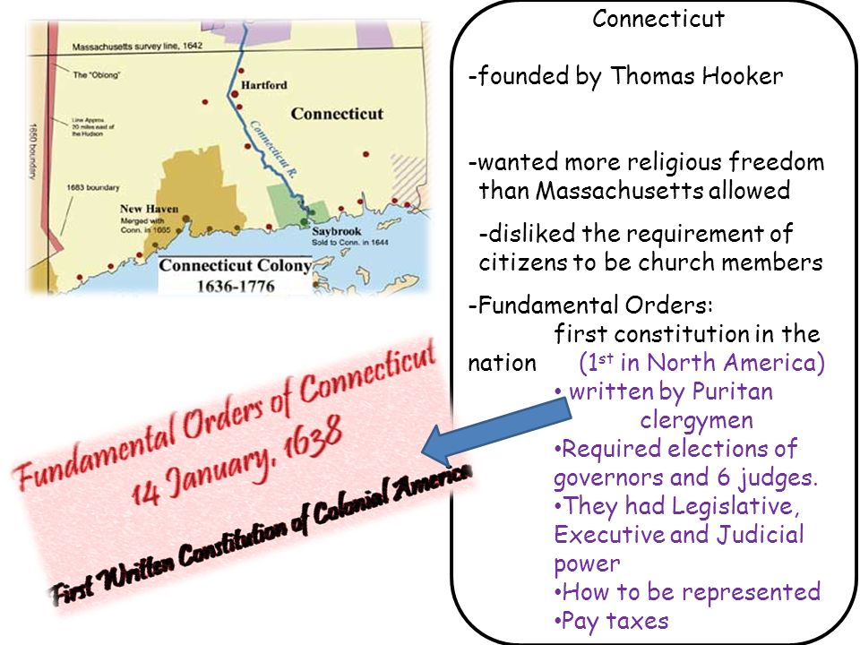 Connecticut -founded by Thomas Hooker. -wanted more religious freedom than Massachusetts allowed.