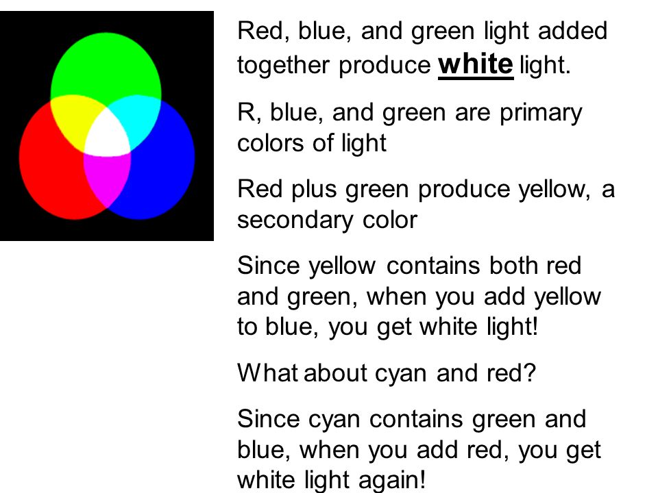Red, blue, and green light added together produce white light.