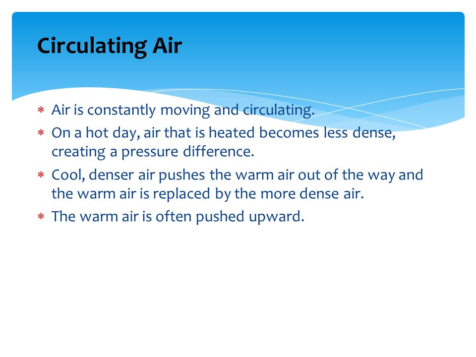 Circulating Air Air is constantly moving and circulating.