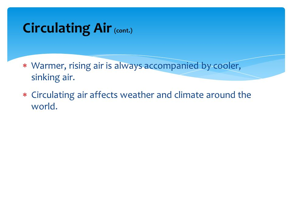 Circulating Air (cont.)