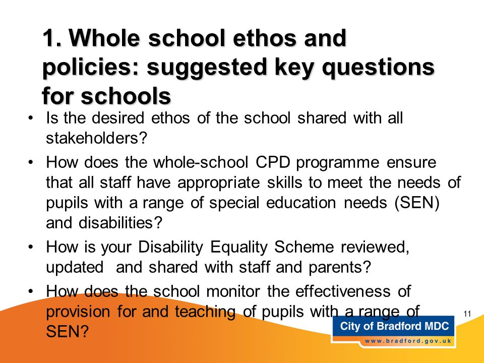 1. Whole school ethos and policies: suggested key questions for schools