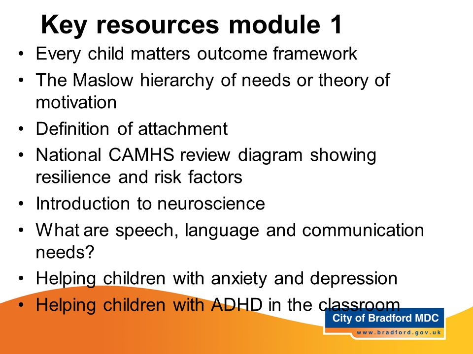 Key resources module 1 Every child matters outcome framework