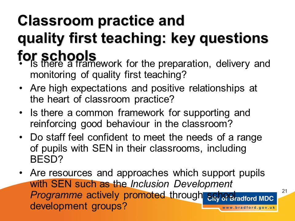 Classroom practice and quality first teaching: key questions for schools