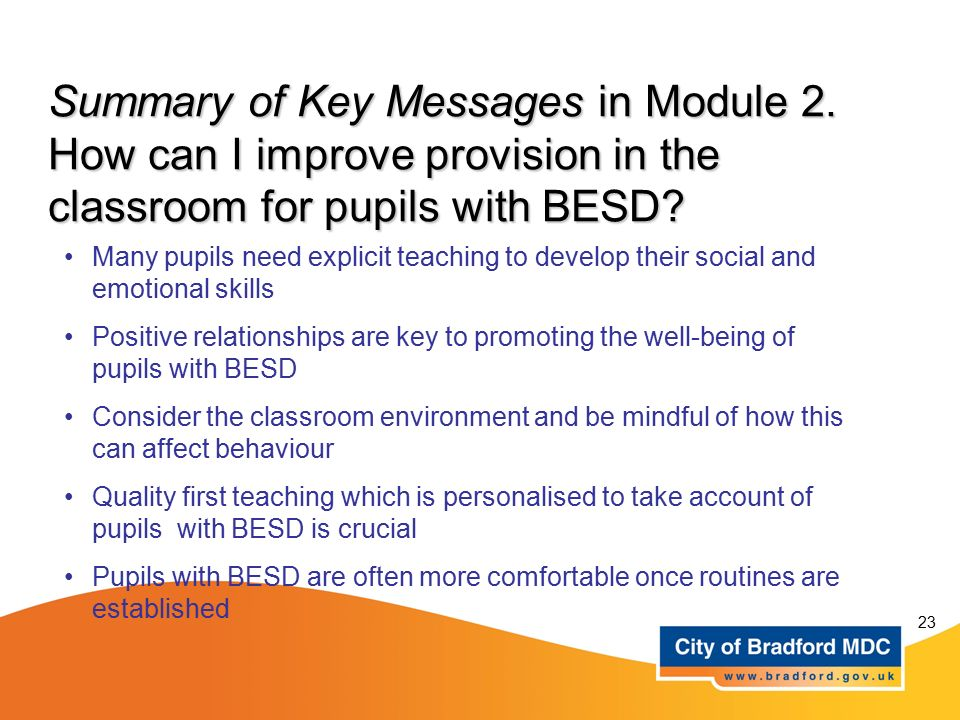 Summary of Key Messages in Module 2