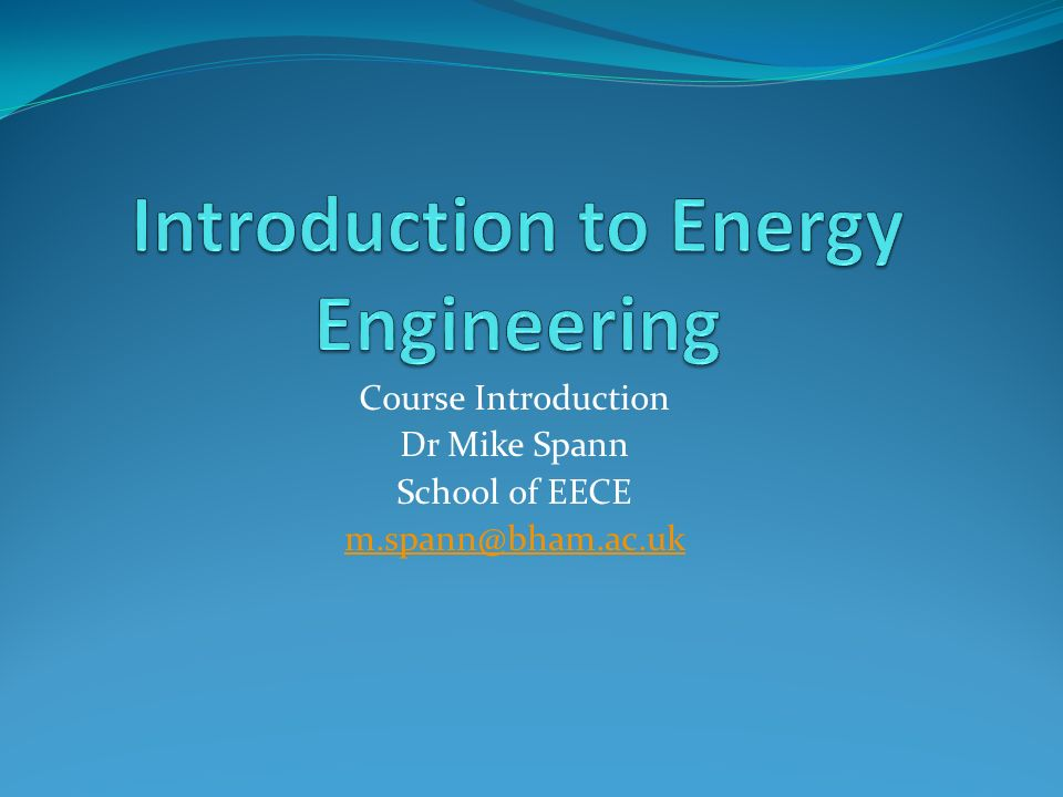 Introduction to Energy Engineering