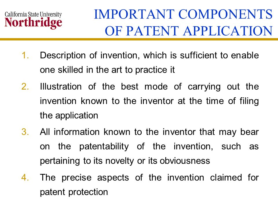 IMPORTANT COMPONENTS OF PATENT APPLICATION