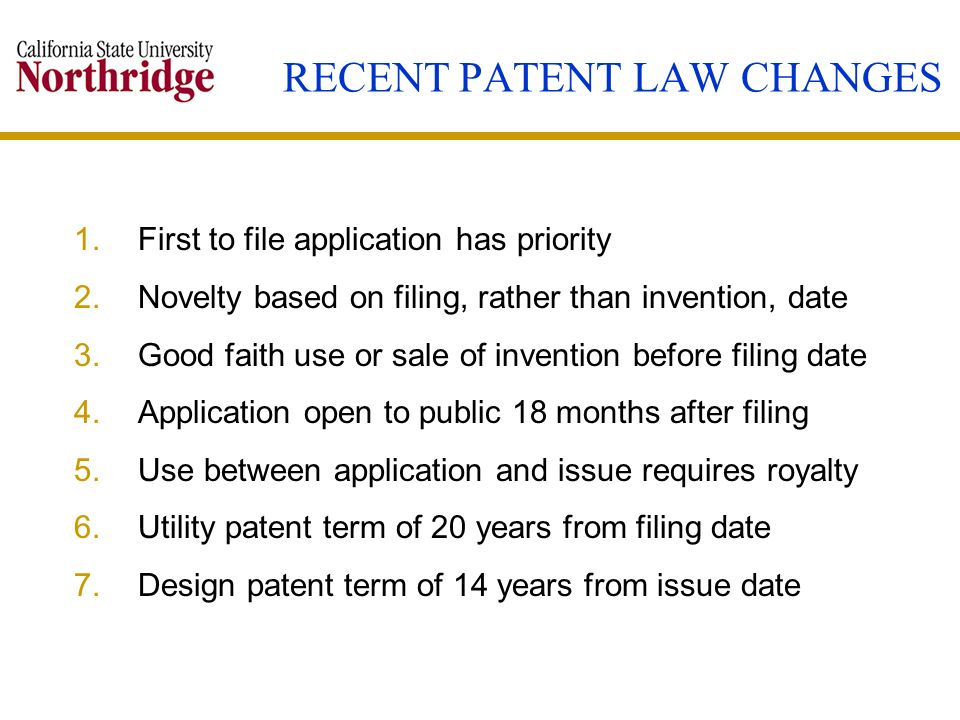 RECENT PATENT LAW CHANGES