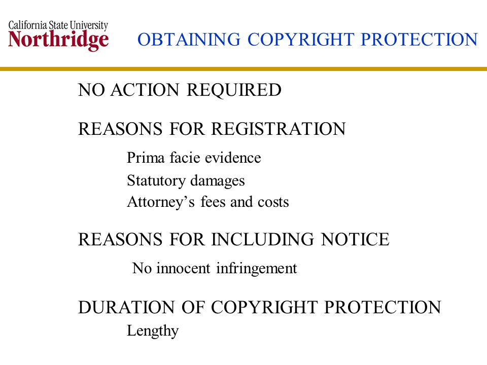 OBTAINING COPYRIGHT PROTECTION