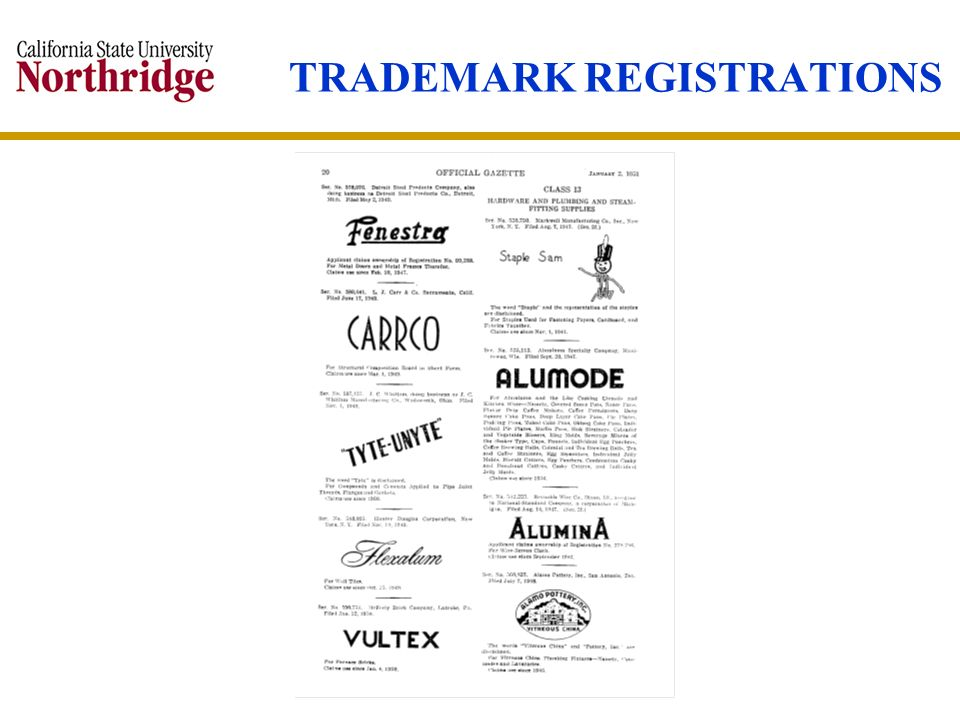 TRADEMARK REGISTRATIONS
