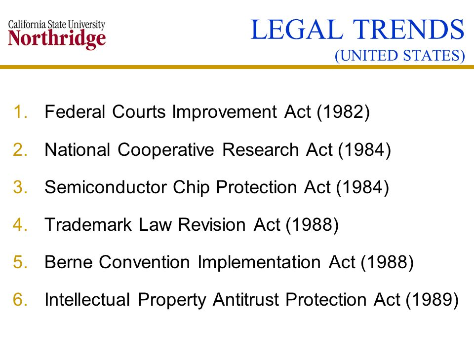 LEGAL TRENDS (UNITED STATES)