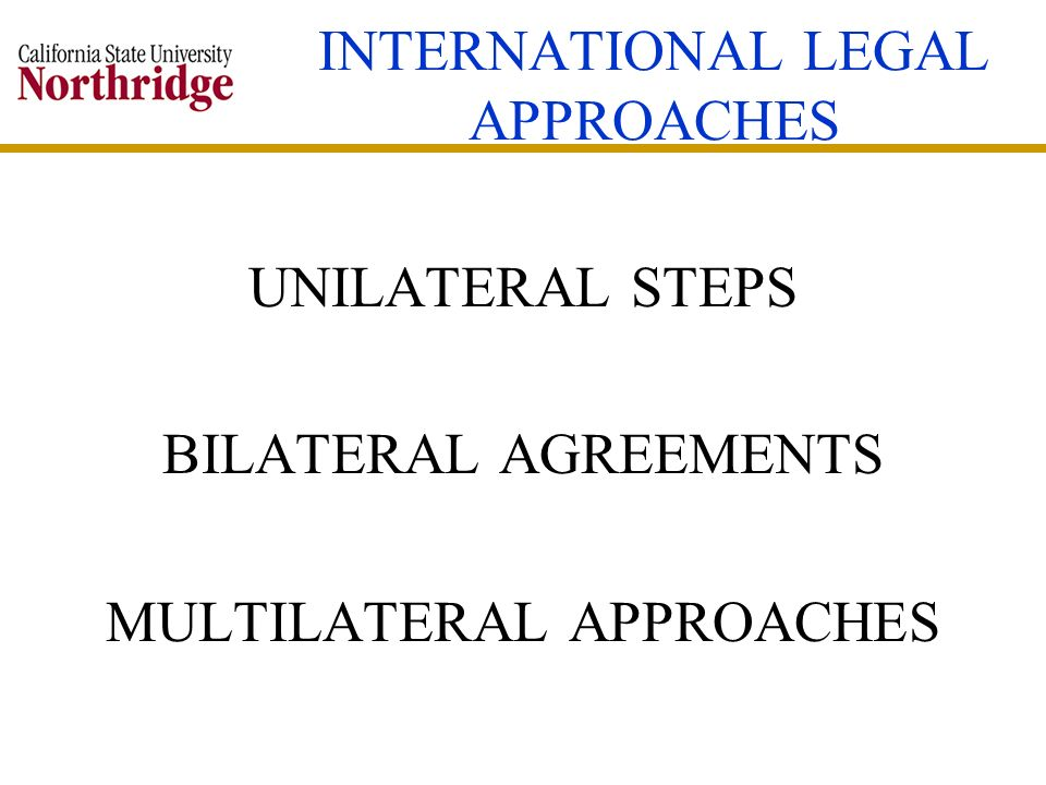 INTERNATIONAL LEGAL APPROACHES