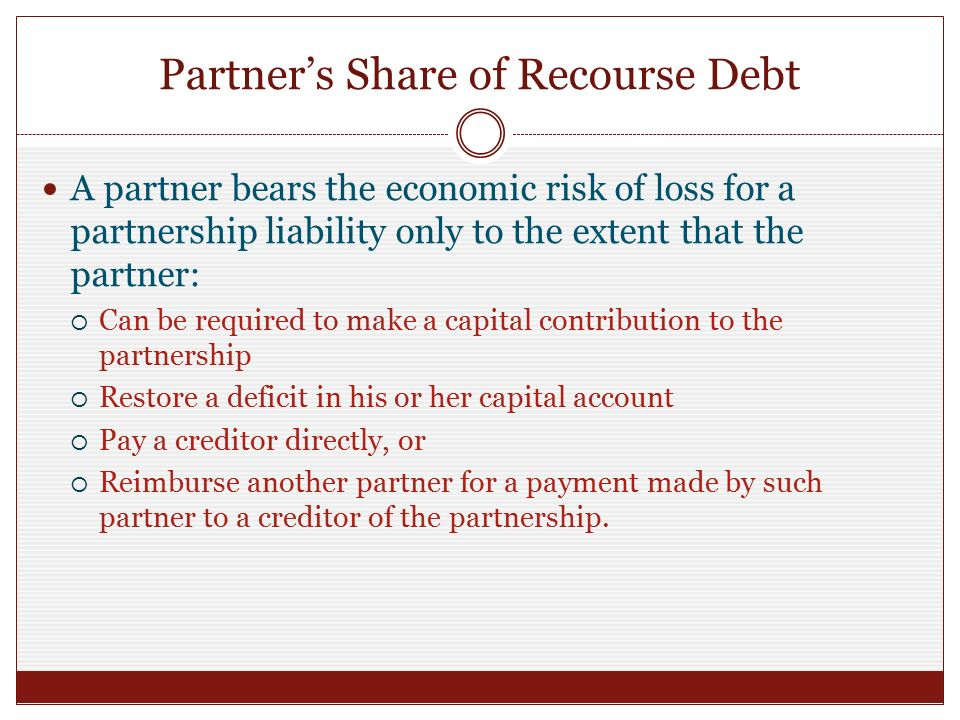 form 1065 recourse liabilities  Chapter 13 Partnership Formation and Computation of Partner ...