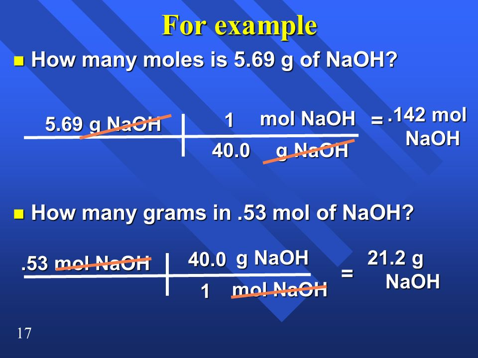 For example How many moles is 5.69 g of NaOH =