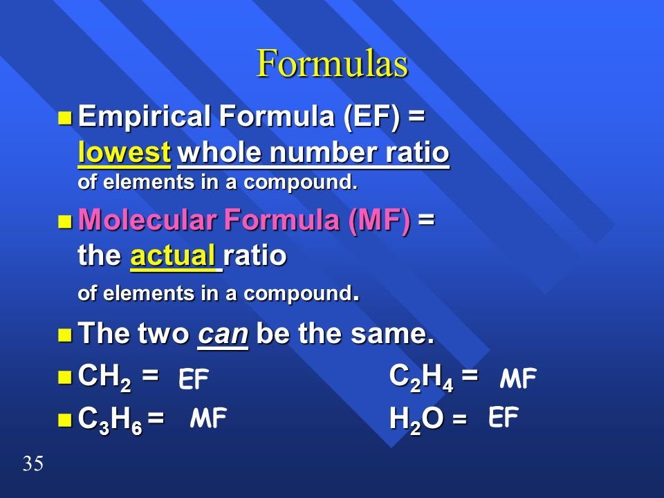 Formulas Empirical Formula (EF) = lowest whole number ratio of elements in a compound.