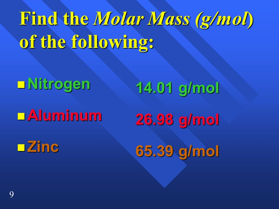 Find the Molar Mass (g/mol) of the following:
