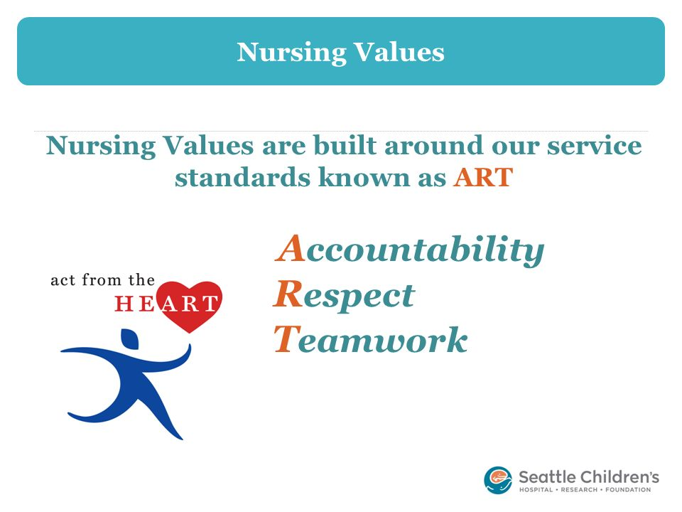 Nursing Values are built around our service standards known as ART