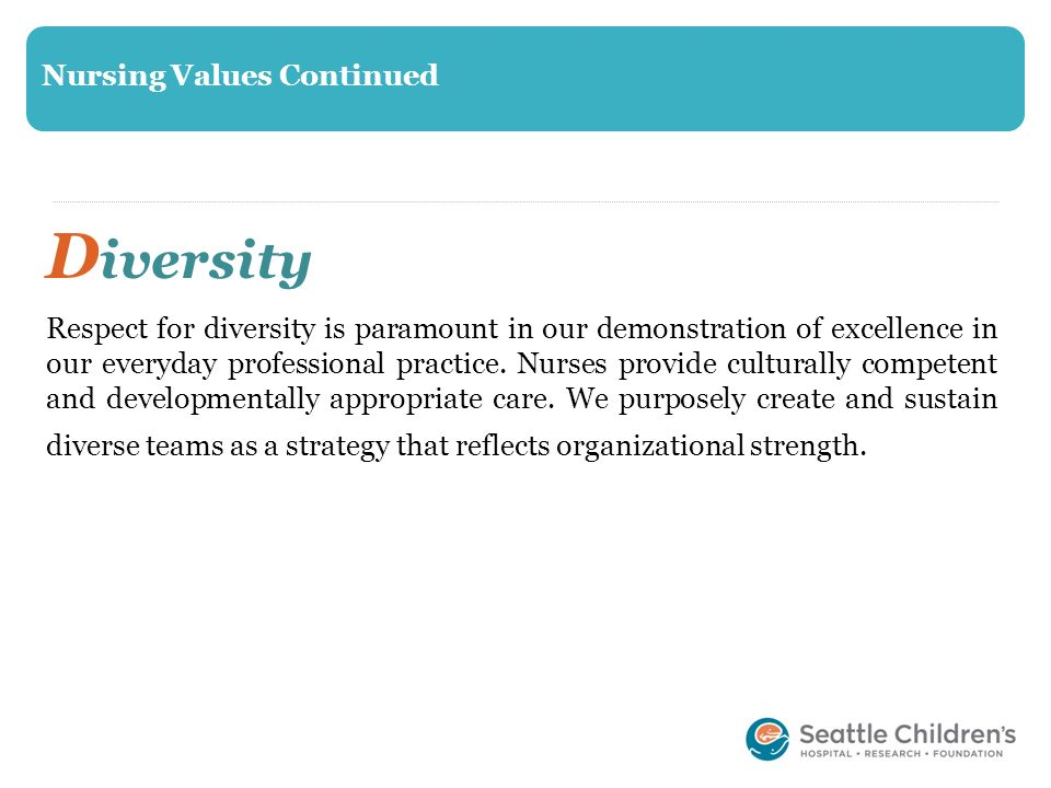 Diversity Nursing Values Continued