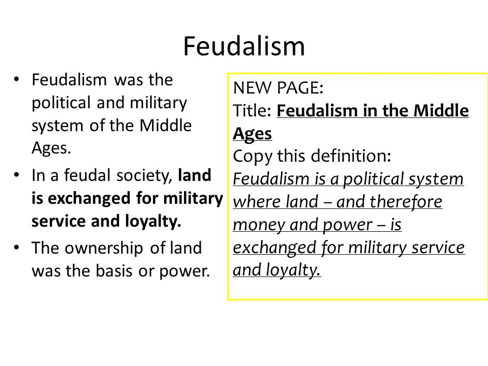define the term feudalism