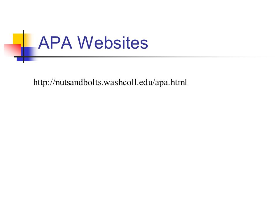 APA Websites