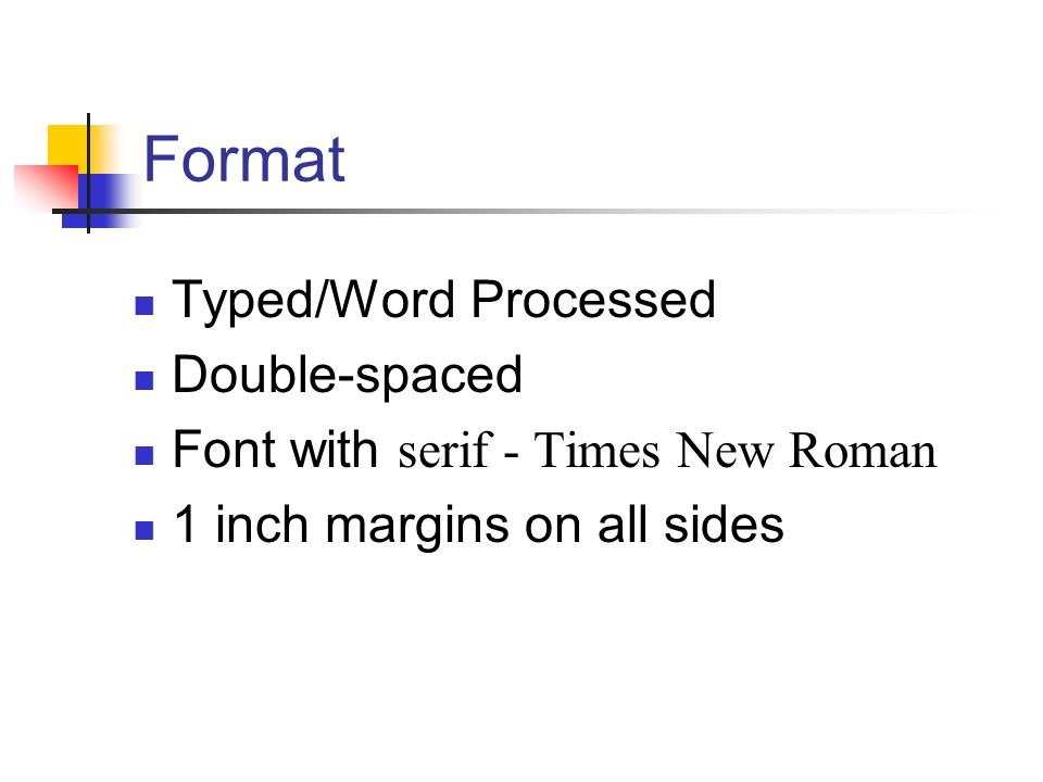 Format Typed/Word Processed Double-spaced