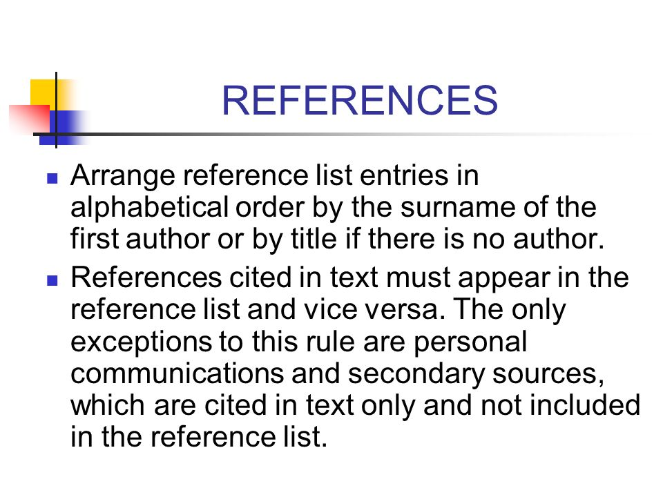 REFERENCES Arrange reference list entries in alphabetical order by the surname of the first author or by title if there is no author.