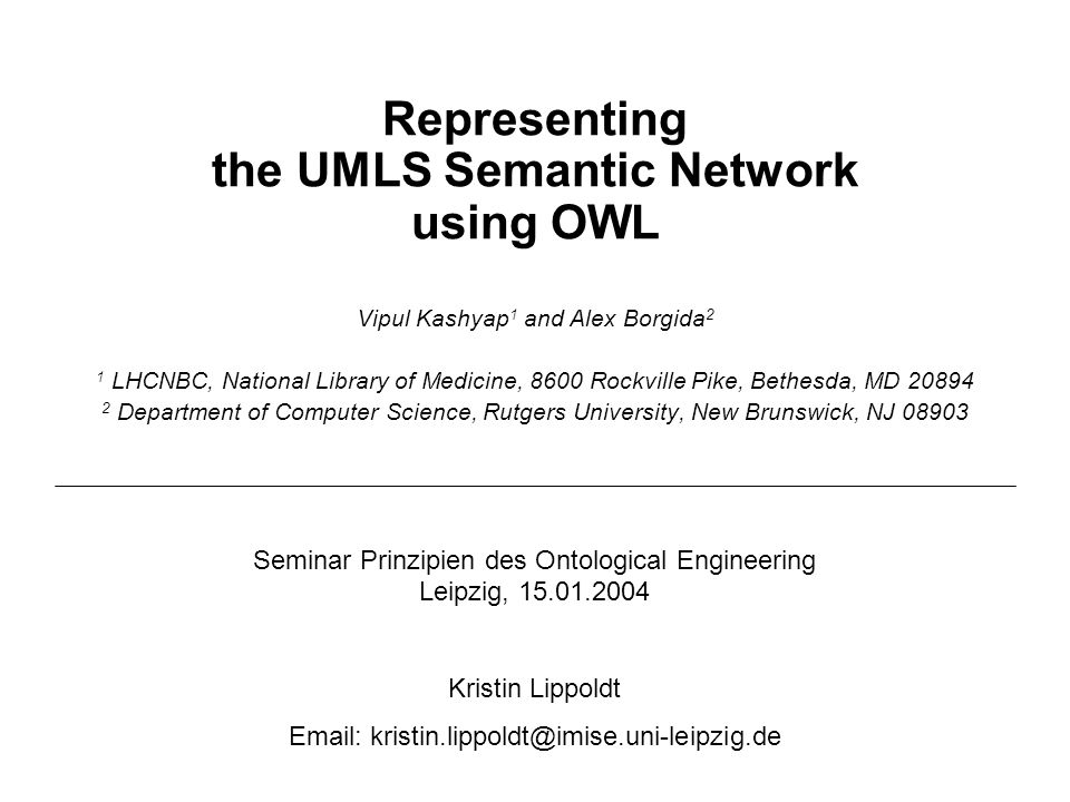 Representing the UMLS Semantic Network using OWL