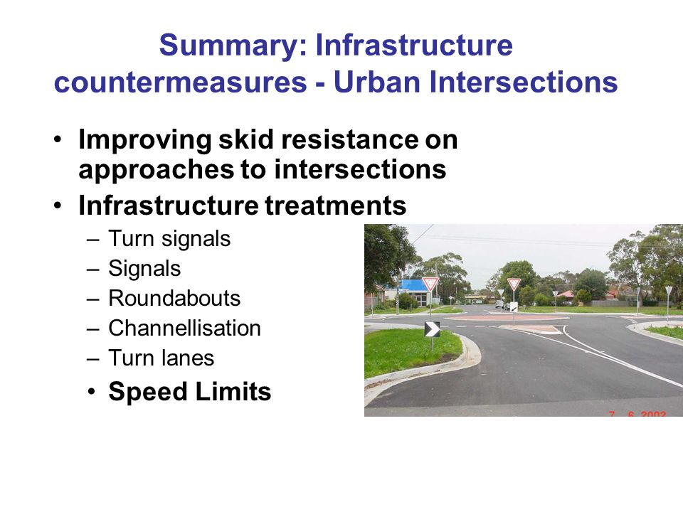 Summary: Infrastructure countermeasures - Urban Intersections