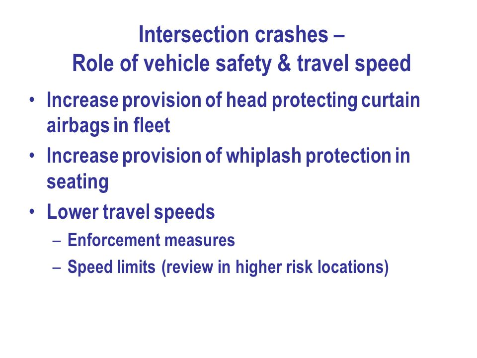 Intersection crashes – Role of vehicle safety & travel speed
