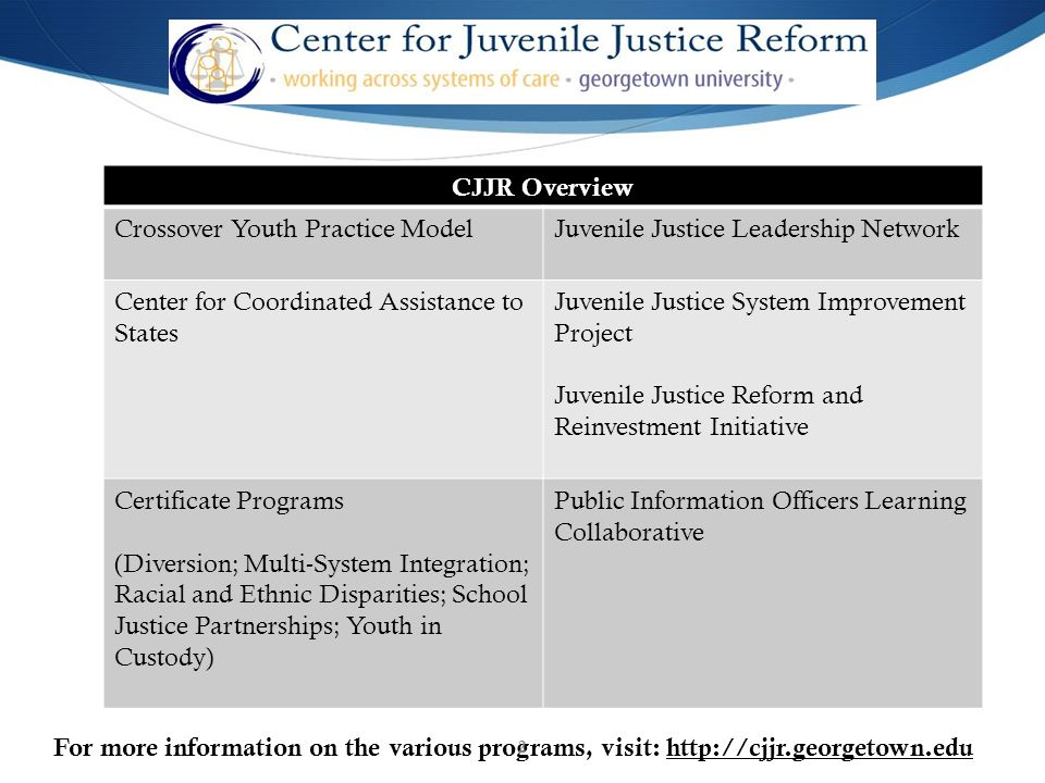 future juvenile justice system Juvenile justice is committed to the reduction and prevention of juvenile delinquency by effectively intervening, educating and treating youth in order to strengthen families and increase public safety.