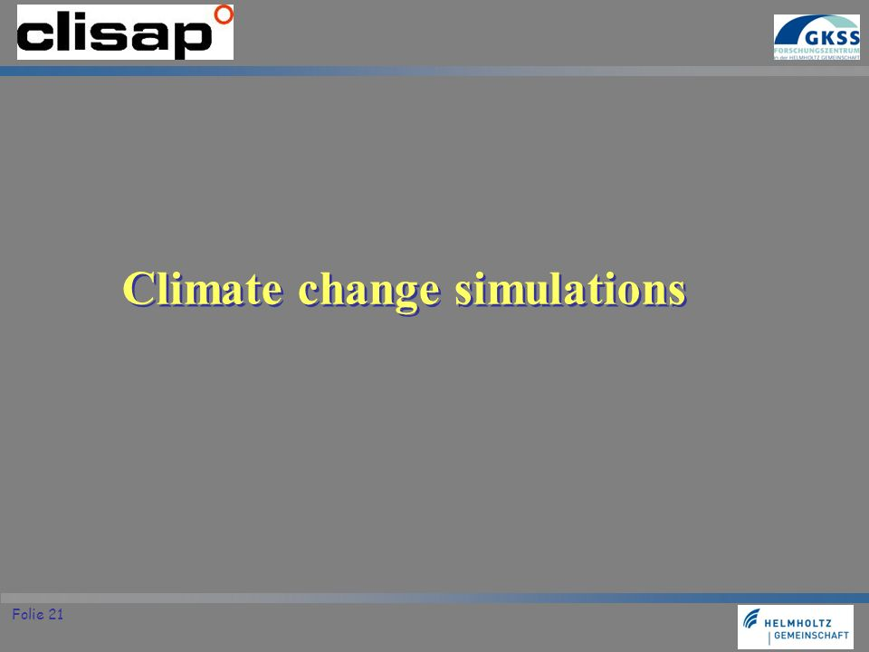 Climate change simulations