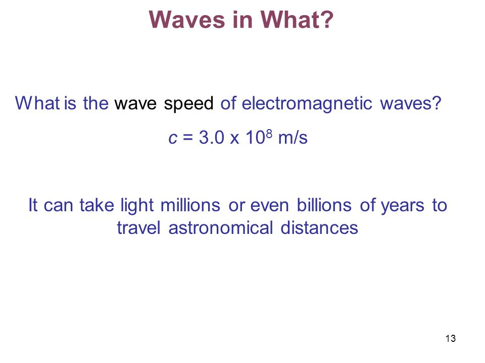 Waves in What What is the wave speed of electromagnetic waves