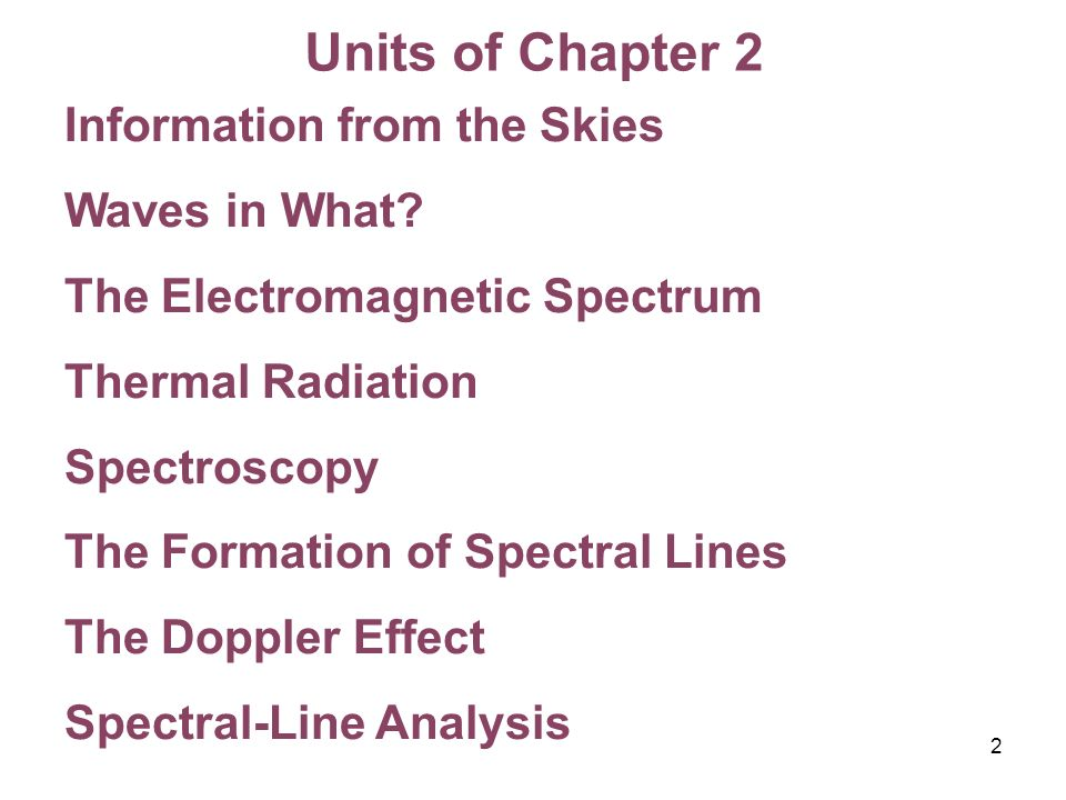 Units of Chapter 2 Information from the Skies Waves in What