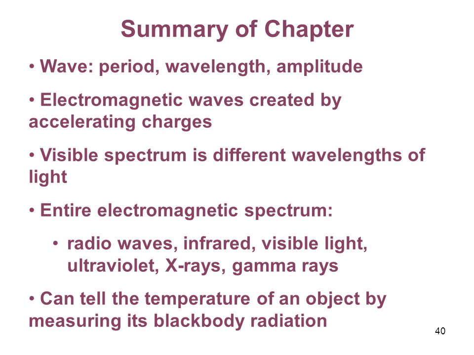 Summary of Chapter Wave: period, wavelength, amplitude