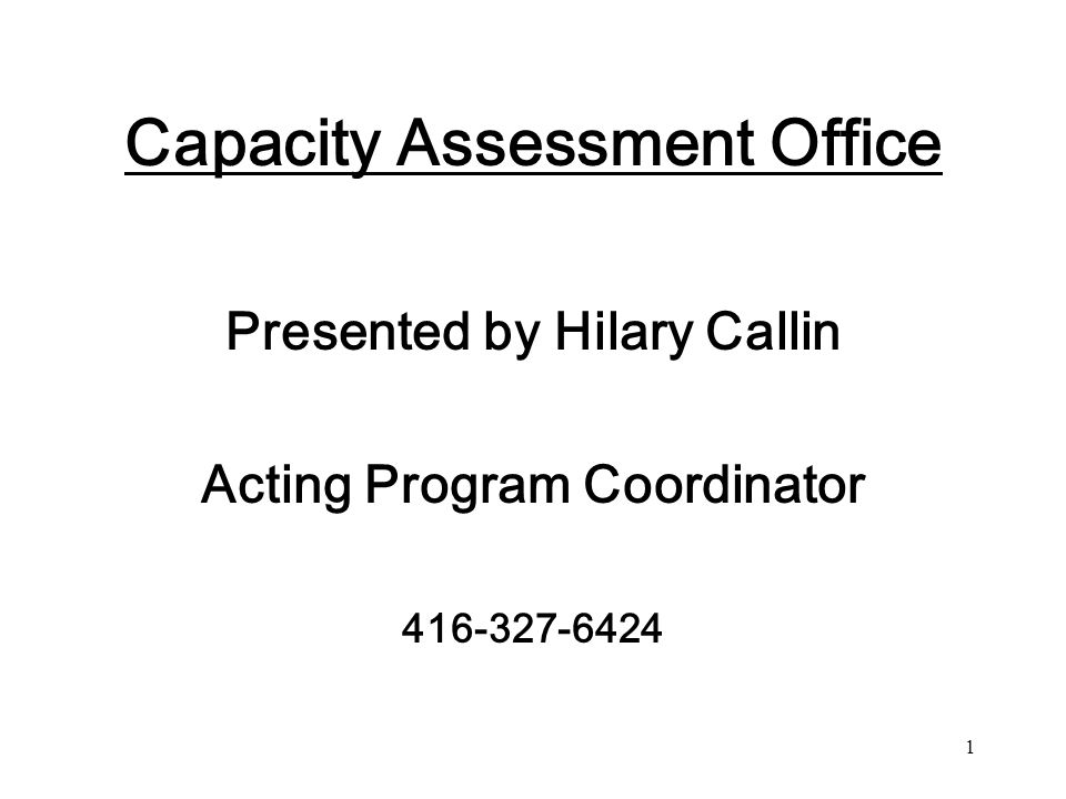 Capacity Assessment Office