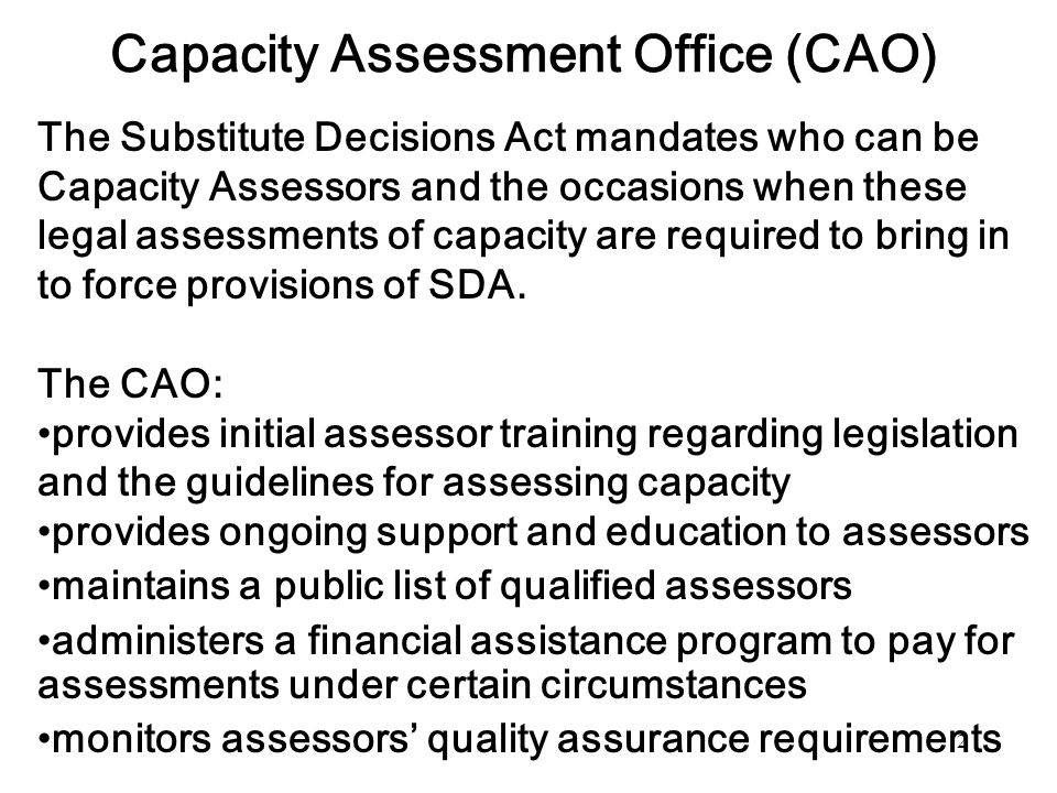 Capacity Assessment Office (CAO)