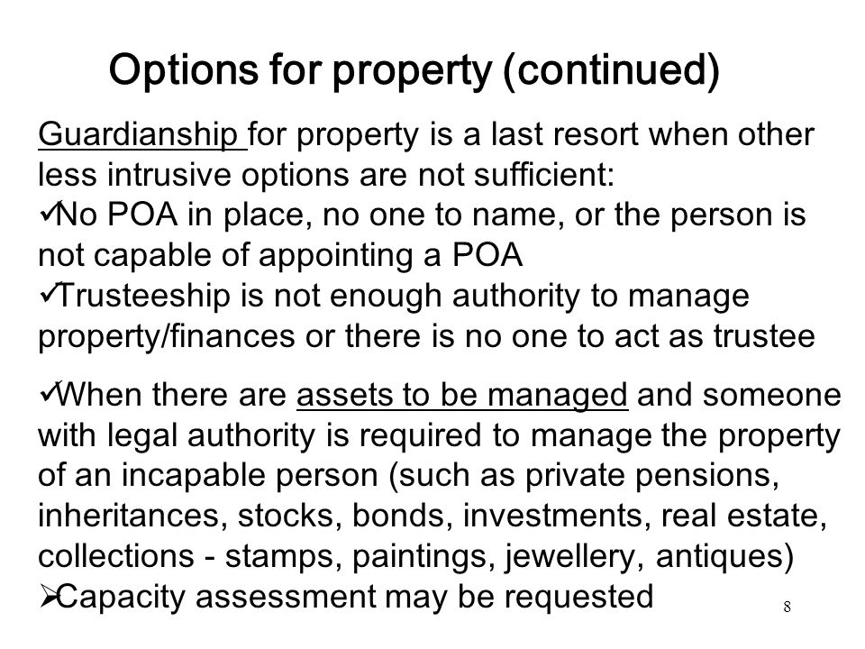 Options for property (continued)