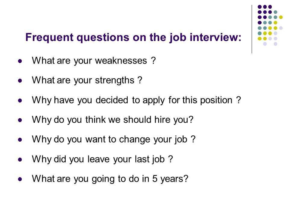 Frequent Questions On The Job Interview: