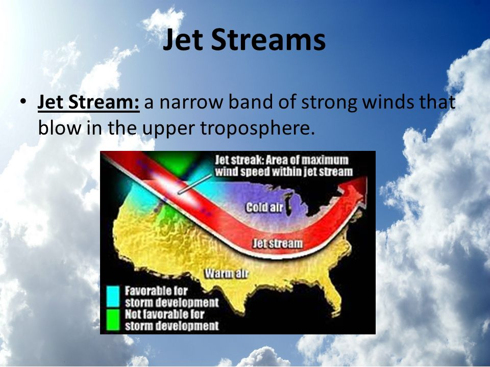 Jet Streams Jet Stream: a narrow band of strong winds that blow in the upper troposphere.