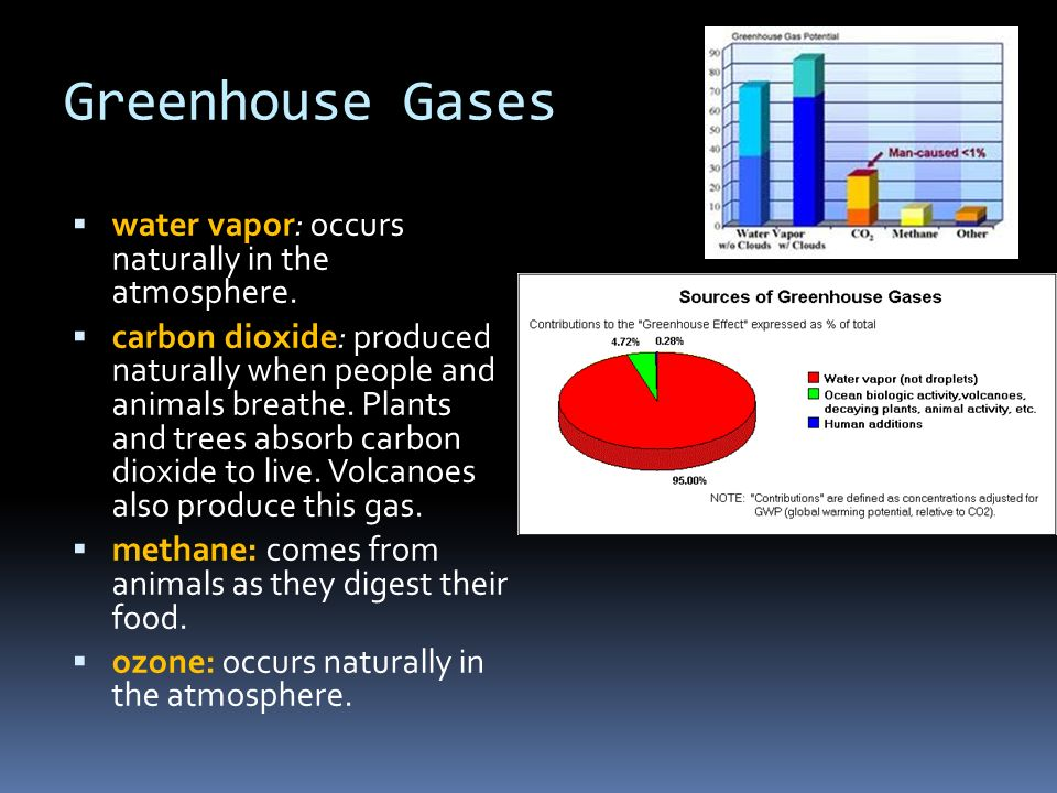 Greenhouse Gases water vapor: occurs naturally in the atmosphere.