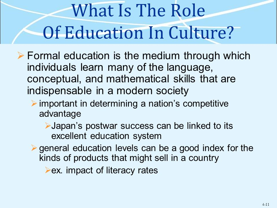 What Is The Role Of Education In Culture