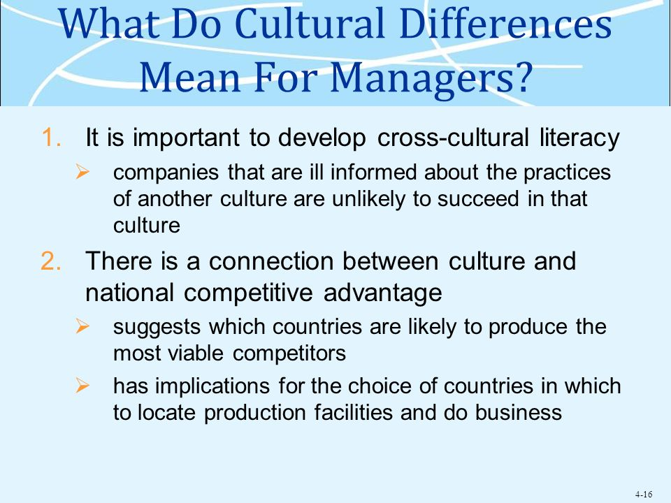 What Do Cultural Differences Mean For Managers