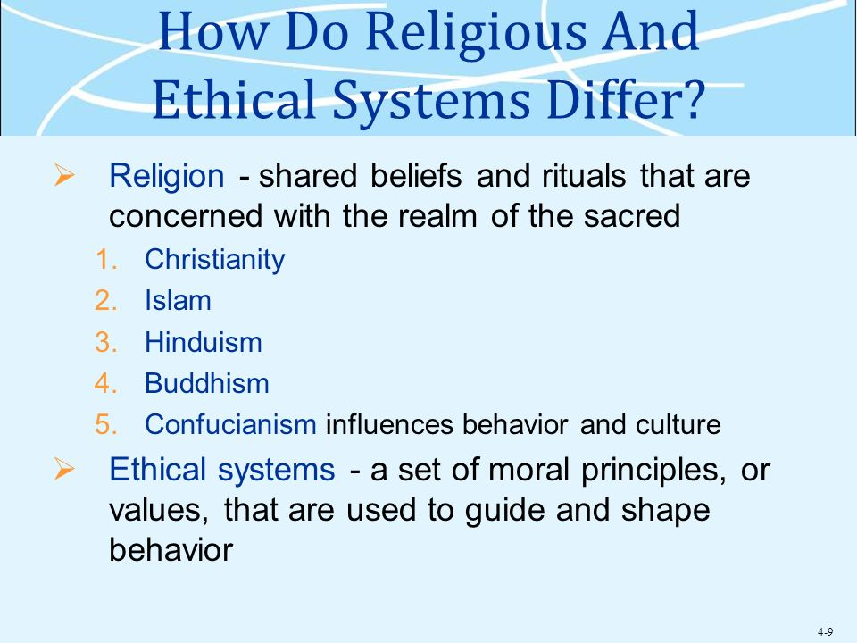 How Do Religious And Ethical Systems Differ