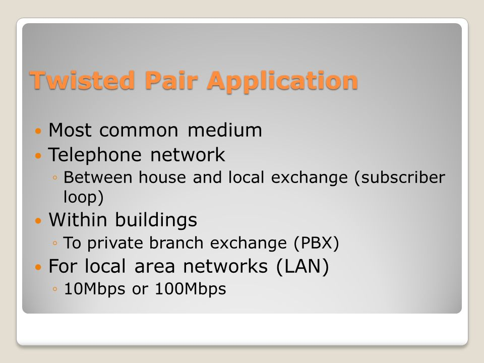Twisted Pair Application