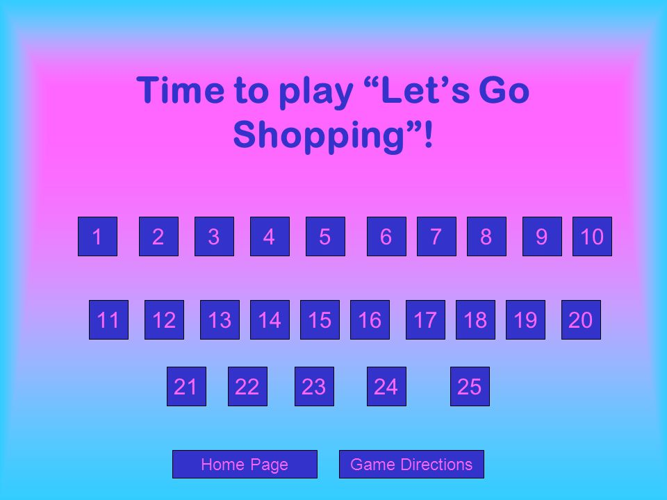 Time to play Let's Go Shopping !