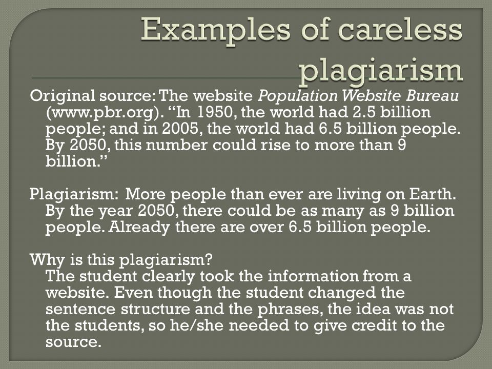 Examples of careless plagiarism