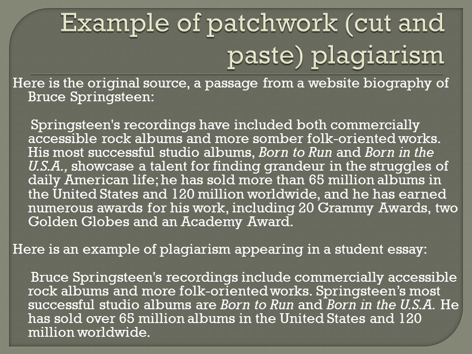 Example of patchwork (cut and paste) plagiarism