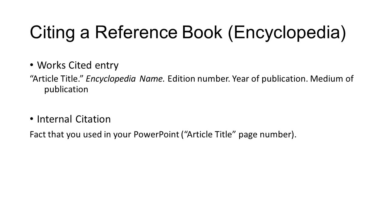 Citing a Reference Book (Encyclopedia)
