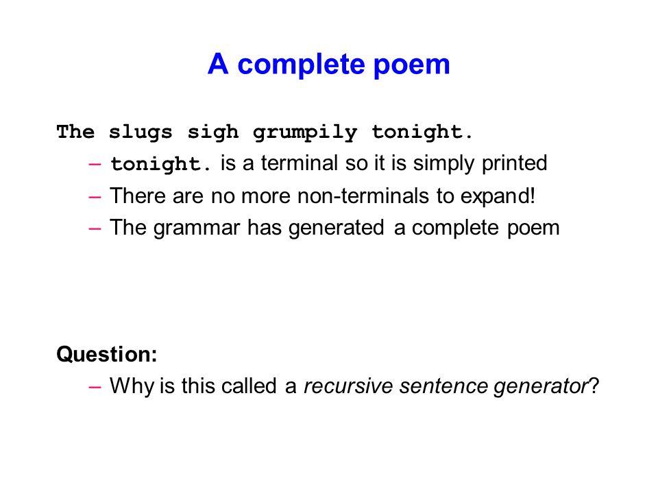 concise sentence generator