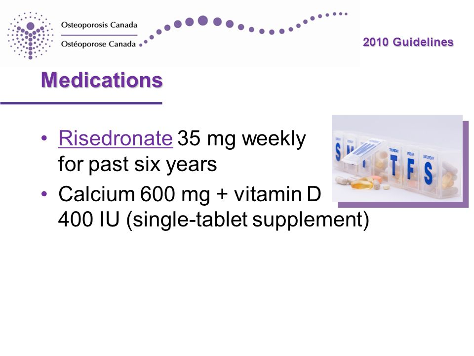 Medications Risedronate 35 mg weekly for past six years.