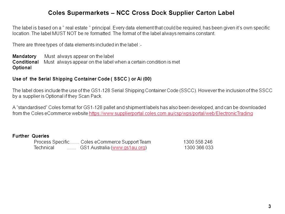 Coles Supermarkets NCC CROSS DOCK SUPPLIER CARTON LABEL V ppt video